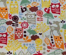 Woodland 100% Cotton Canvas Fabric Owl Deer Rabbit Squirrell