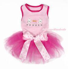 Easter Rabbit Egg Pink Sleeveless Dots Bow Hot Pink Gauze Skirt Pet Dog Dress