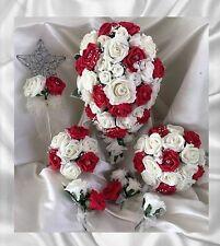 Flores Boda Marfil/Rojo Pedrería Ramo Novia/Damas de honor/Ojales