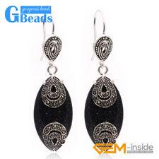Fashion 14x32mm Marquise Beads Tibetan Silver Dangle Earrings for Chritmas Gift