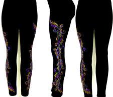 Regular Size Full Length Leggings Hand Embellished Party Mardi Gras Leaves