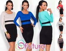 Lovely Women's Striped Dress Cowl Neck Long Sleeve Jersey Bodycon Size 8-18 8058