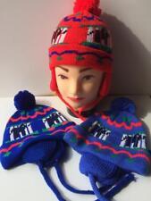 Warm soft Winter HAT ear flaps boys girls 1-3 years pattern pom pom RED BLUE H
