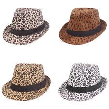 Women Men Classic Leopard Print Jazz Fedora Hat Trilby Hat Outdoor Casual Cap