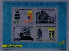 2011 150° Istituzione Marina Militare - foglietto su lamina d'argento