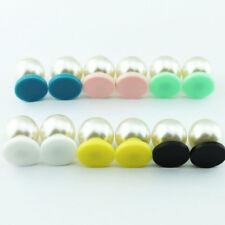Monogram Pearl Earrings Handmade Acrylic Disc Round Studs Earrings