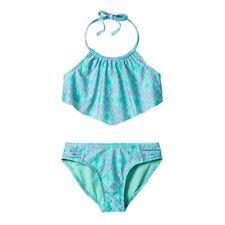 Xhilaration Mint High Neck Flounce Bikini 2-Pc.Set Swimwear Girls XS,S,M