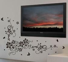 VIGNE FLEURS avec papillons art mural autocollant vinyle, bricolage maison