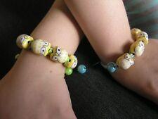 Shamballa bracelet with handmade porcelain owl beads