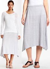$188 Eileen Fisher Stripe Linen Jersey handkerchief Hem Knee Length Skirt XL