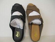 Bass Womens Parker Nubuck Leather Slip On Slider Sandals Black Sea Rock Size 6 M