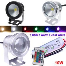 IP68 10W LED Underwater Spot Light RGB Warm/Cool White Pond Lamp + 12V Adapter