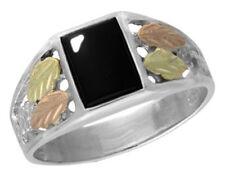 Mens Dakota Black Hills Gold & Silver Black Onyx Ring GSX978 Select Your Size