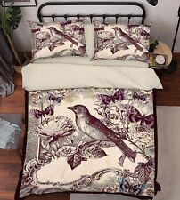 3D Bird Petals 749 Bed Pillowcases Quilt Duvet Cover Set Single Queen UK Summer