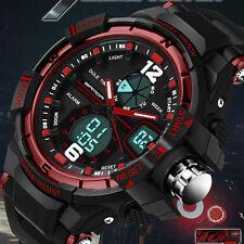 New Black Sport Waterproof Mens LCD Digital Analog Quartz Date Alarm Wrist Watch