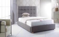 Cube Upholstered Bed Frame Chenille Linen Velvet Bedstead 3ft, 4'6, 5ft, 6ft