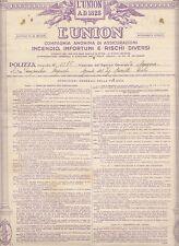 """E165-ASSICURAZIONI-POLIZZA """"L'UNION"""" 1909"""