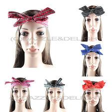 ELASTICATED HEAD BAND RETRO HEADBAND WITH BOW PIN UP VINTAGE DOLLY BOW HEAD WRAP