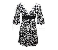 CLEARANCE AX PARIS BLACK & WHITE SATIN PLUNGE NECKLINE SUMMER DRESS