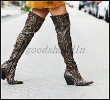 Womens Snakeskin Western Pointed Toe Shoes Block Heel Cowboy Zip Over Knee Boots