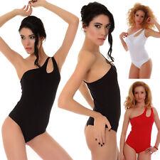 Cotton Women's extravagant bodysuit one shoulder thong S-2XL TIARA GALIANO 1442