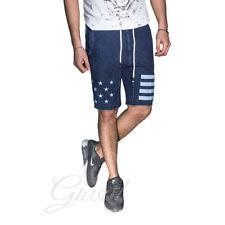 Pantalone Uomo Jeans Corto Denim Elastico Molla Tasca America Stampa Stelle Righ