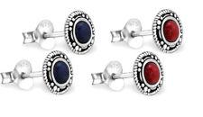 925 ECHT SILBER *** Ohrstecker Ohrringe rund mit echten Steinen schwarz-rot-blau