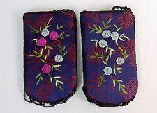 Beaded Mini Purse, Shoulder Strap, BLUE w/Floral Embroidery, Zip Closure #CHBP07