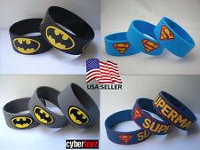 BATMAN SUPERMAN DC Comics Silicone Rubber Wristband Bracelets USA Seller