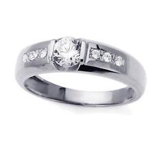 Men 14K White Gold CZ Seven Stone Wedding Band Ring / Free Gift Box