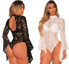 Ladie Black White Sheer Floral Lace Long Bell Sleeve Bodysuit Leotard 8 10 12 14