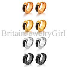 2-8pcs 4/7mm Round Hoop Stainless Steel Carbon Fiber Stud Earrings for Men Women