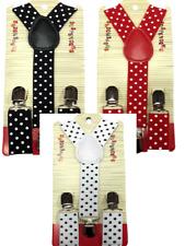 New Kids Boys Girls Suspender Red White Black Polka Dot Dots Us Seller