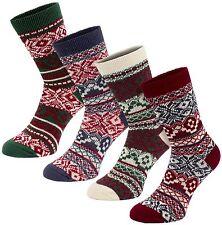 BRUBAKER Womens Nordic Fair Isle Socks X-Mas Chimney Traditional Costum - 4 Pack