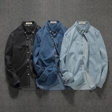 Men's Denim Lapel Shirt Slim Long Sleeve Jacket Retro Casual 100% Cotton Shirts