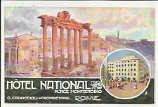 HOTEL NATIONAL ALBERGO NAZIONALE ROMA PIAZZA MONTECITORIO CARTOLINA ARTISTICA