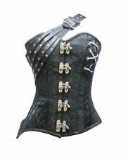 Black Brocade Leather Strap Waist Cincher Women's Clothing Overbust Corset Top