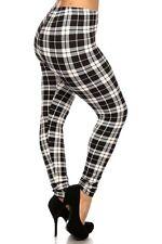 07d3c7af7c1 PLUS Black Blue Beige Red PLAID leggings pants Polyester 1X 2X 3X 4X 12-24