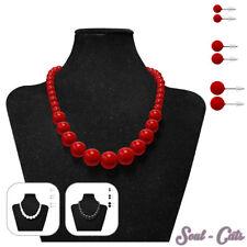 Perlenkette + 3 Paar Ohrstecker Halskette Damen-Kette Ohrringe rot weiß schwarz
