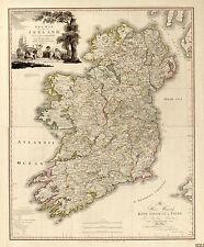 1797 Map of Ireland Civil and Ecclesiastical Wall Art Poster Print Irish History