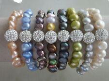 Süßwasser Perle Zuchtperle Stretch Armband Strass Glitzer Auswahl 2664