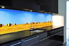 Spritzschutzwand aus Glas, Motiv Stroh, endlos verlegbar für Ihre Küche