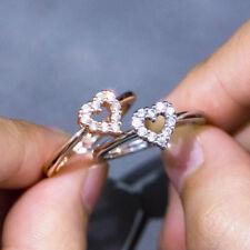 Heart Women 925 Silver,rose Gold Wedding Rings White Sapphire Ring Size 6-10