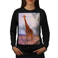 Wellcoda Giraffe Safari Animal Womens Sweatshirt, Africa Casual Pullover Jumper