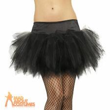 Ladies Black Frilly Tutu Burlesque Womens Fancy Dress Accessory New