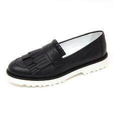 D0340 mocassino donna HOGAN H259 scarpa nero frangia loafer shoe woman