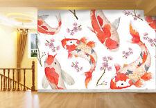 3D Red Carp Fish Paper Wall Print Wall Decal Wall Deco Indoor Murals