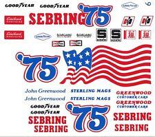 #75 Sebring Corvette John Greenwood 1/64 Scale Slot Car Decals