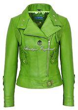 SUPERMODEL Ladies Green Biker Style Designer Real Nappa Italian Leather Jacket