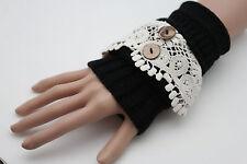 Women Pair Arm Warmer Gloves Cream White Lace Knit Black Stretch Fabric Slip On